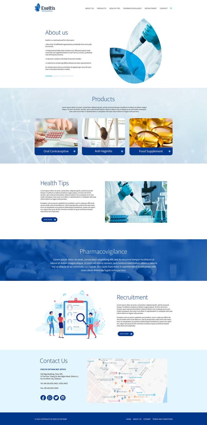 Thiết kế website công ty dược Exeltis