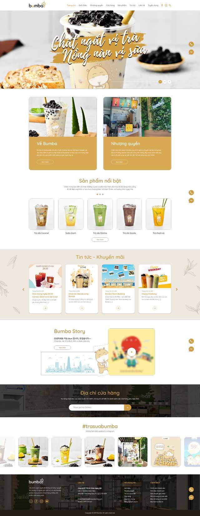 Thiết kế website Bumba Milk Tea
